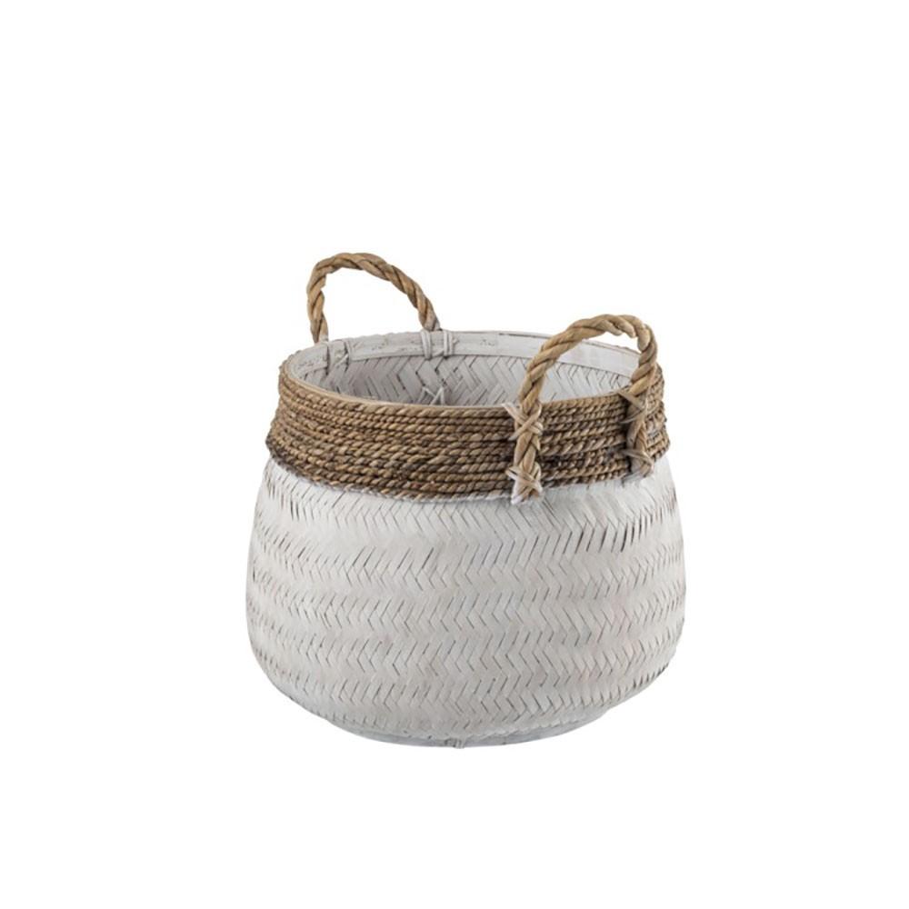 Panier + Anse Boule Bambou + Corde Blanc S