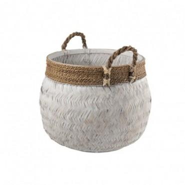 Panier + Anse Boule Bambou + Corde Blanc L