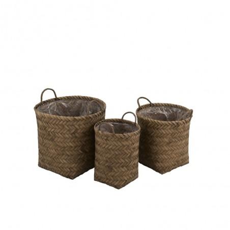 Set de 3 Paniers Zigzag Bambou/Plastique Marron