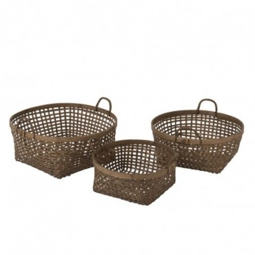 Set de 3 Paniers Tresses Bambou Marron