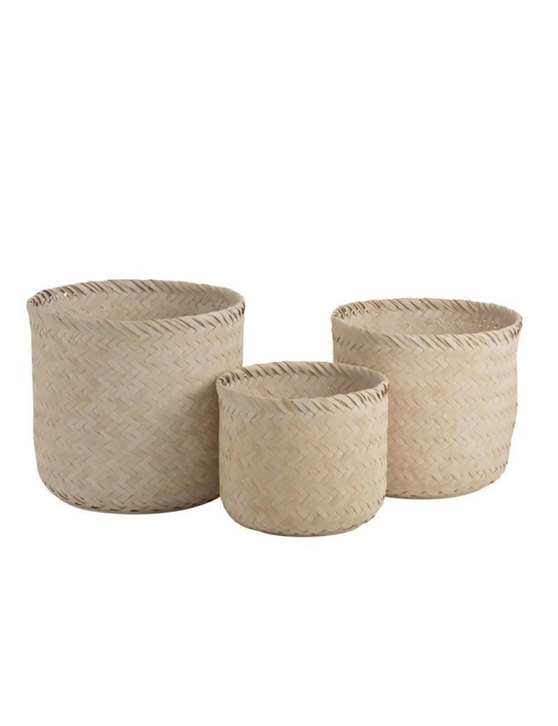 Set de 3 Paniers Ronds Bambou Beige
