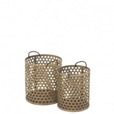 Set de 2 Paniers Ronds Bambou Naturel