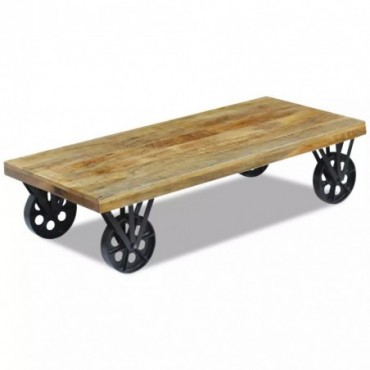 Table basse en bois de manguier avec roulettes 120x60x30cm