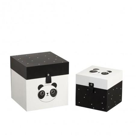 Set de 2 Boites Panda Bois Blanc/Noir