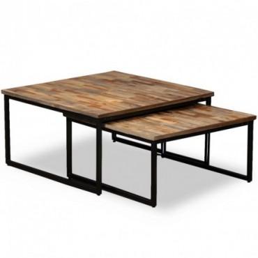 Table basse gigogne 2 pièces en teck massif de récupération