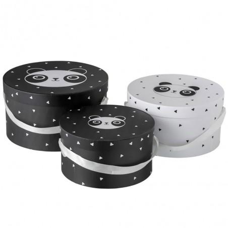 Set de 3 Boites Rond Panda Papier Noir/blanc