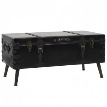 Table basse en forme de malle en bois et en acier 102x51x48cm