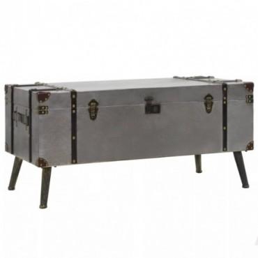 Table basse en forme de malle en bois et en aluminium 102x51x47,5cm