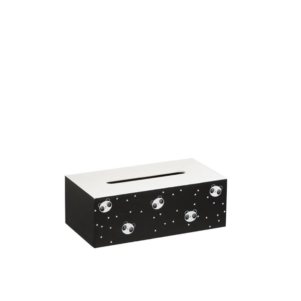 Boite A Mouchoir Panda Bois Blanc/Noir