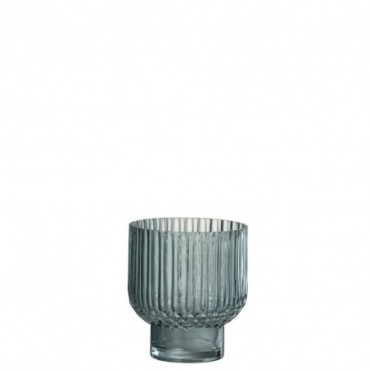 Vase Stries Rond Verre Vert S