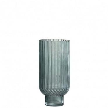 Vase Stries Rond Haut Verre Vert S
