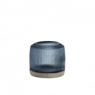 Vase Stries Verre/Bois Bleu/Naturel S