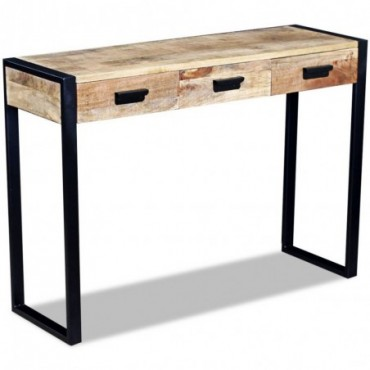 Console avec 3 tiroirs en bois de manguier 110x35x78cm