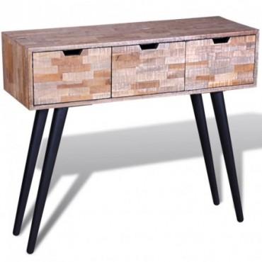 Console avec 3 tiroirs en bois de en teck recyclé et pieds compas