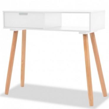 Console en bois de pin massif Blanc 80x30x72cm