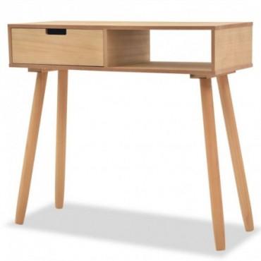 Console en bois de pin massif couleur bois naturel 80x30x72cm