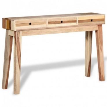 Console en bois de récupération massif style établi