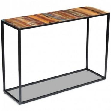 Console en bois de récupération massif et pieds en métal 110x35x76cm