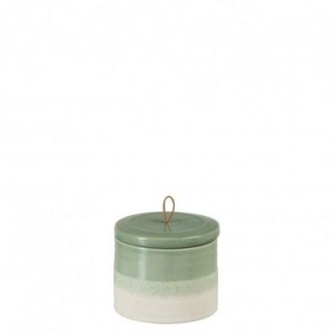 Pot + Couvercle Ceramique Vert/Blanc L