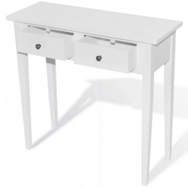 Console style coiffeuse avec 2 tiroirs Blanc