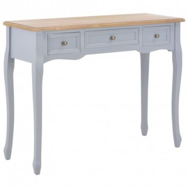 Console style coiffeuse pieds baroques avec 3 tiroirs Gris