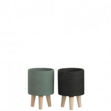 Cachepot Ciment Vert/Noir S