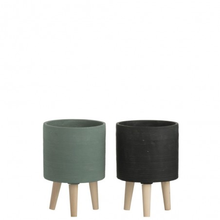 Cachepot Ciment Vert/Noir L