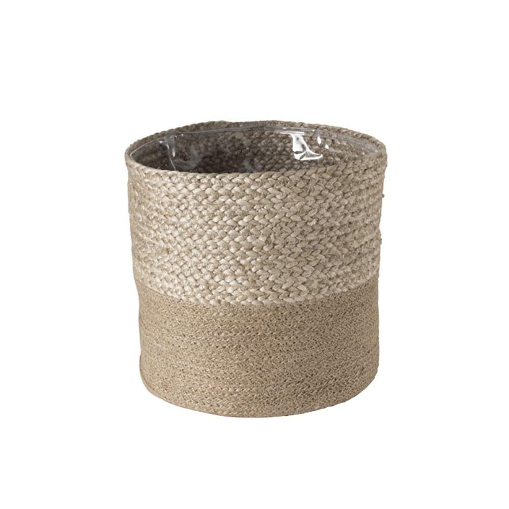 Cachepot Cylindrique Jute Blanc/Naturel L
