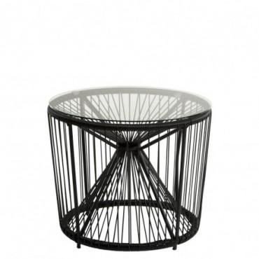 Table Pam Metal/Plastique + Verre Noir
