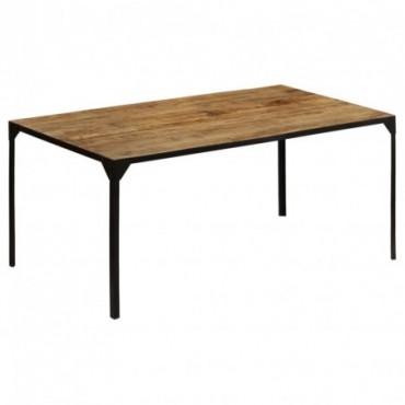 Table de salle à manger en bois de manguier massif + cadre en fer...