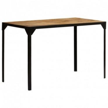 Table de salle à manger en bois de manguier brut et en acier 120cm