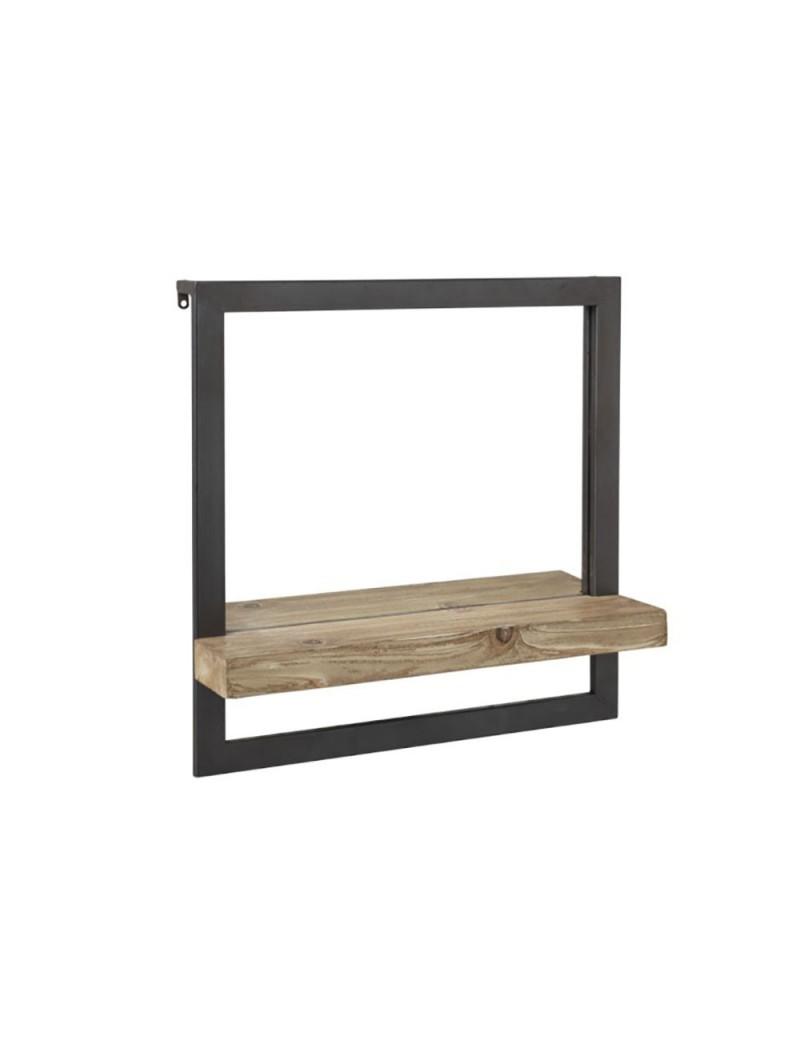 La Plinthe Du Mur etagère mur 1 planche + miroir bois/metal naturel