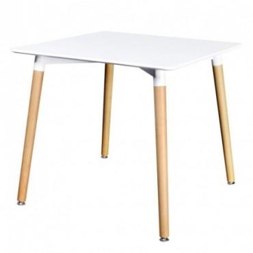 Table de salle à manger carrée en bois Blanc