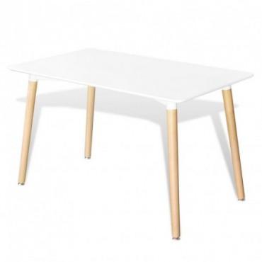 Table de salle à manger rectangulaire en bois Blanc
