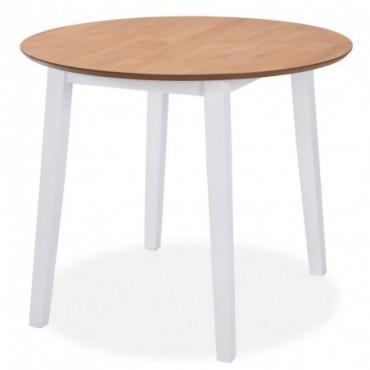 Table de salle à manger ronde à abattant en bois Blanche