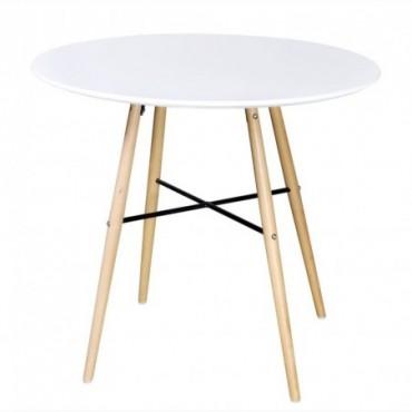 Table de salle à manger ronde en bois Blanc