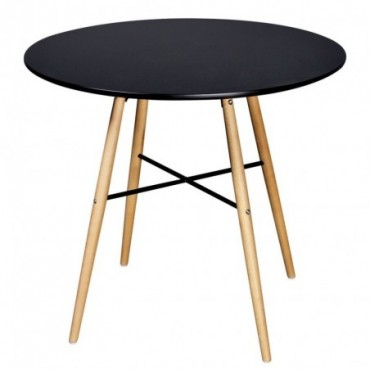 Table de salle à manger ronde en bois Noir