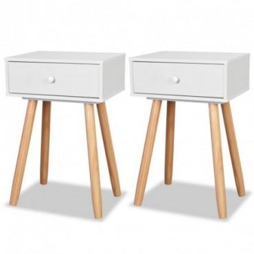 Table de chevet 2 pièces en bois de pin massif Blanc 40x30x61cm