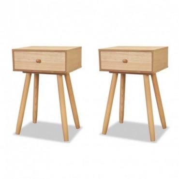 Table de chevet 2 pièces en bois de pin massif Marron 40x30x61cm
