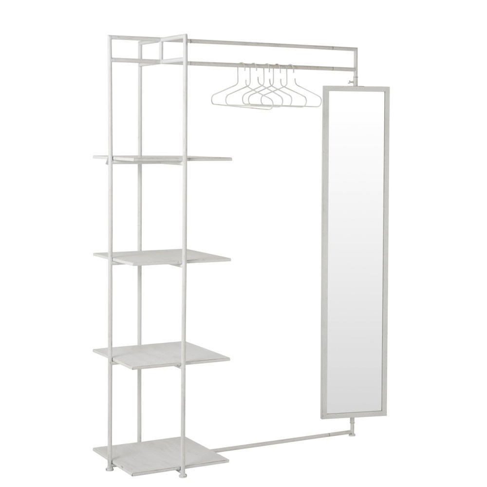 Etagère 4 Planches Miroir + Tringle Metal Blanc