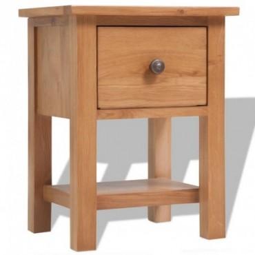 Table de chevet en bois de chêne massif 36x30x47cm