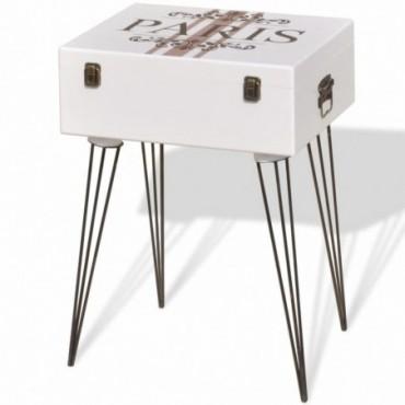 Table de chevet Blanc 40x30x57cm