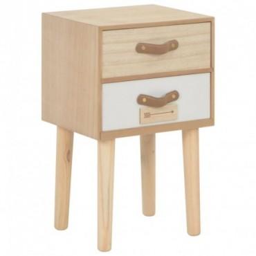 Table de chevet avec 2 tiroirs en bois de pin massif 30x25x49,5cm