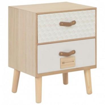 Table de chevet avec 2 tiroirs en bois de pin massif 40x30x49,5cm