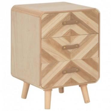 Table de chevet avec 3 tiroirs en bois massif 40x35x56,5cm