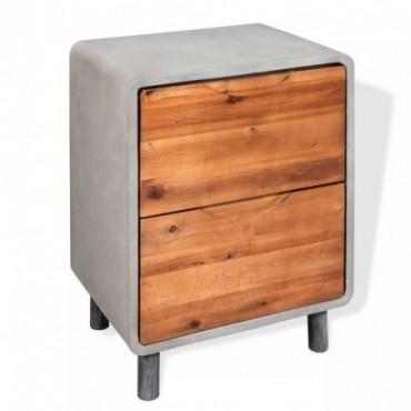 Table de chevet en bois d'acacia massif 40x30x50cm