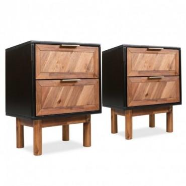 Tables de chevet 2 pièces en bois d'acacia massif 40x30x53cm