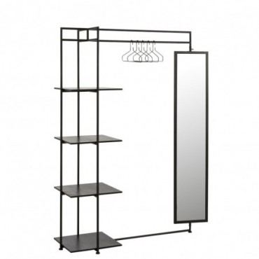 Etagère 4 Planches Miroir + Tringle Metal Noir|