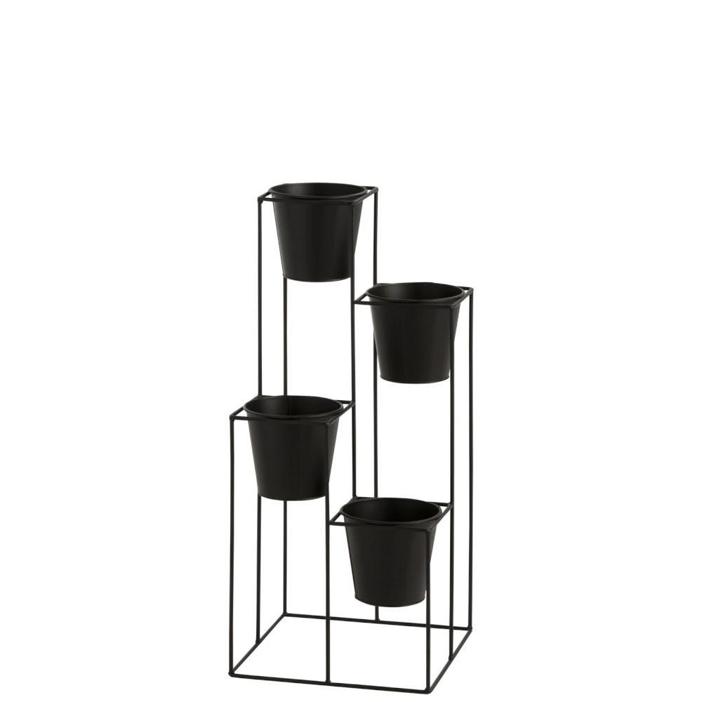 Etagère Suspendue Cachepot 4 Pots Metal Noir S