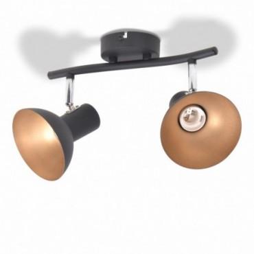 Plafonnier pour 2 ampoules E27 Noir et doré